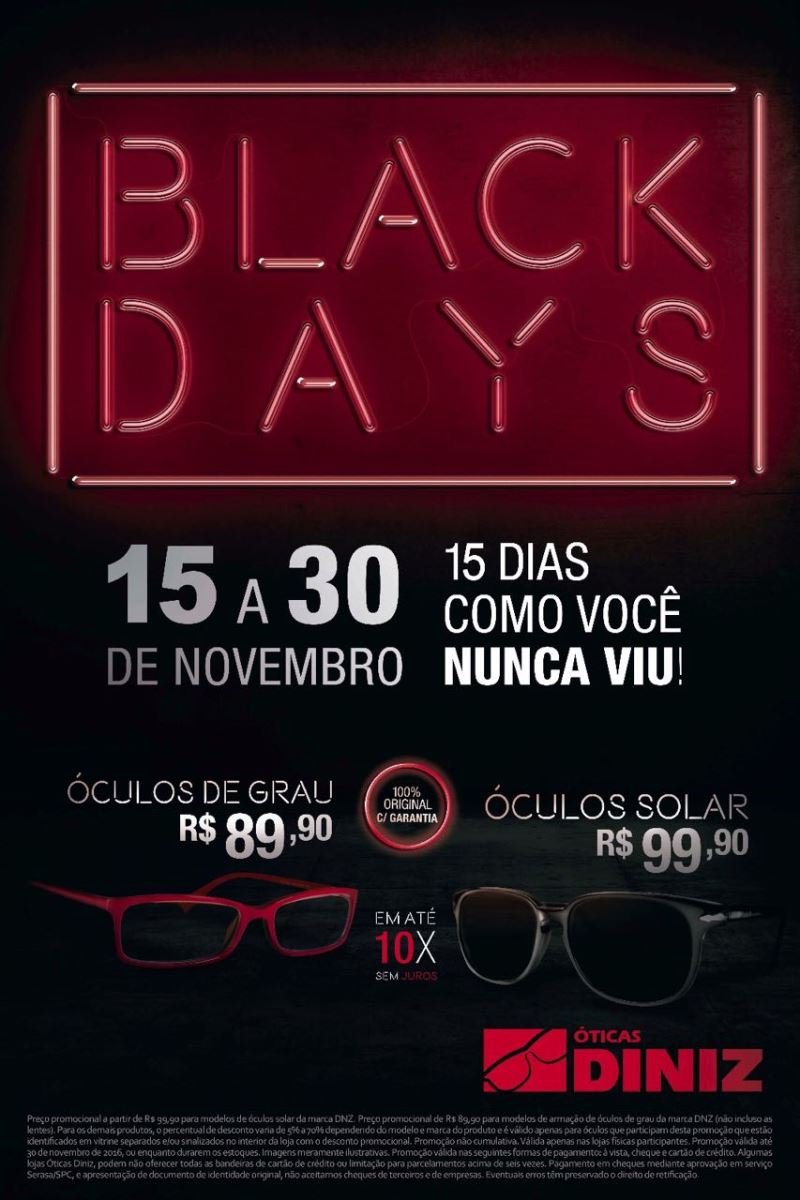 8b6def9a42e15 Black Days by Óticas Diniz - Frisson